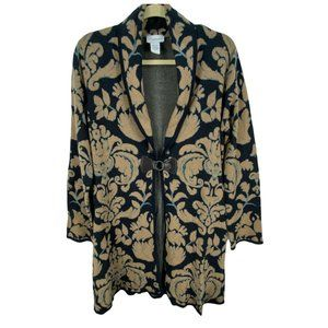 Soft Surroundings Large Midi Sweater Brown Blue Floral Damask Wool Blend